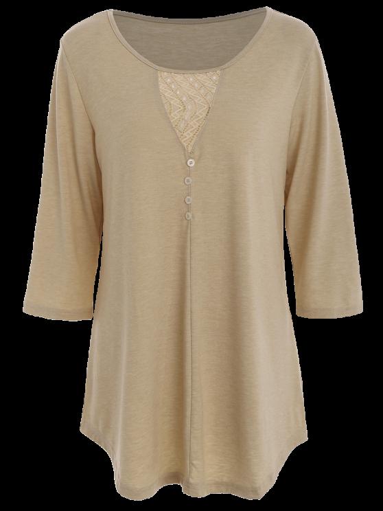 Inserción del cordón embellecido Botones de gran tamaño de la camiseta - Caqui Única Talla
