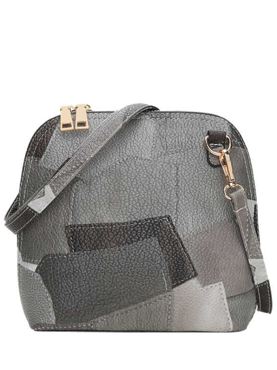 lady Zip Around Color Blocking Cross Body Bag - GRAY