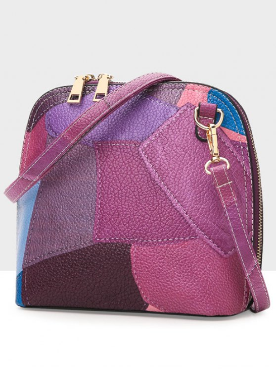 Zip Around Color Blocking Cross Body Bag - PURPLE  Mobile