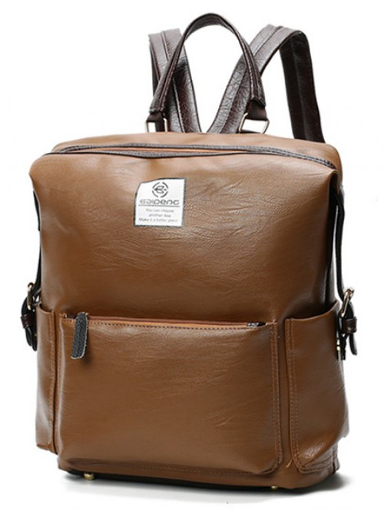 chic Buckle Straps Faux Leather Backpack - BROWN