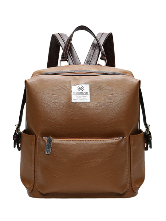 Buckle Straps Faux Leather Backpack - BROWN  Mobile