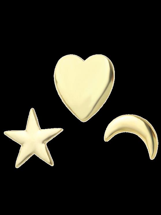Luna de la estrella del corazón Broche de - Dorado
