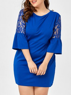 Plus Size Lace Hollow Out Bell Sleeve Dress - Peacock Blue 6xl