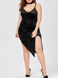 Slit Velvet Choker Plus Size Club Dress - Black 5xl