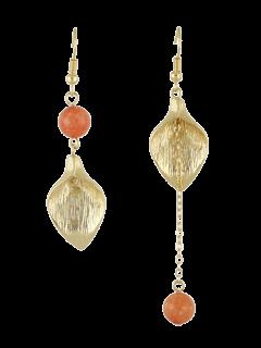 Leaf Chain Beads Asymmetric Earrings - Orange