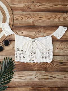 Knitted Off Shoulder Cover Up Top - White