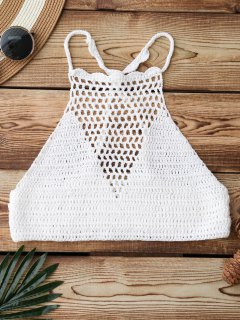 Crochet High Neck Bikini Top - White