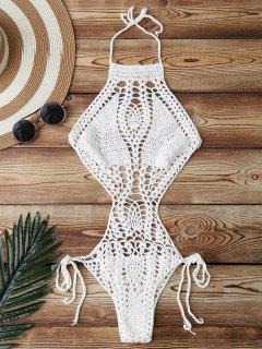 High Cut Crochet Swimwear - White