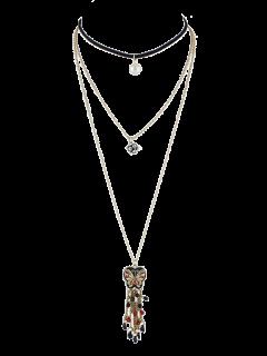 Rhinestone Faux Pearl Butterfly Necklace Set - Golden