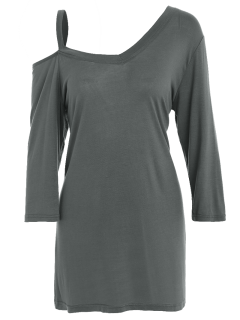 Relaxed Fit Asymmetric Tee - Light Gray
