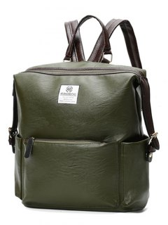 Buckle Straps Faux Leather Backpack - Olive Green