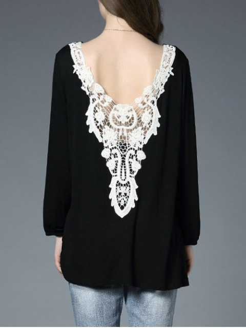sale Lace Panel Backless Oversized T-Shirt - BLACK ONE SIZE Mobile