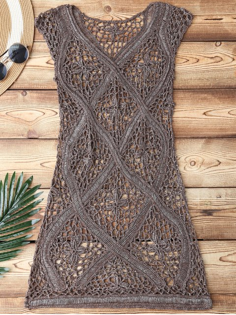 best Crochet V Neck Cover Up - TAUPE ONE SIZE Mobile