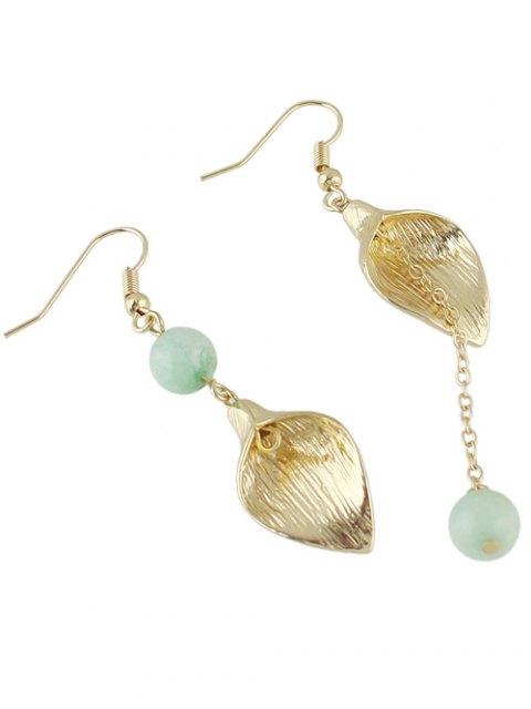 Boucles d'oreilles asymétriques avec pendants à chaînes, feuilles et perles - Bleu  Mobile