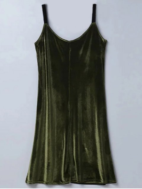 affordable Casual Velvet Midi Dress - ARMY GREEN S Mobile