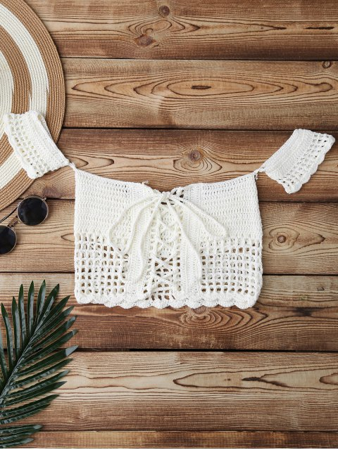 new Knitted Off Shoulder Cover Up Top - WHITE ONE SIZE Mobile