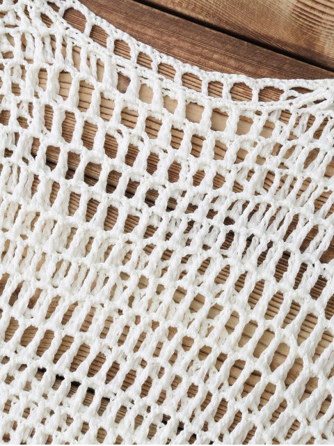 online Hollow Out Crochet Cover Up - WHITE ONE SIZE Mobile