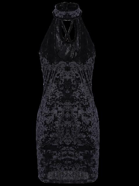unique Crosscriss Velvet Bodycon Dress - BLACK XL Mobile
