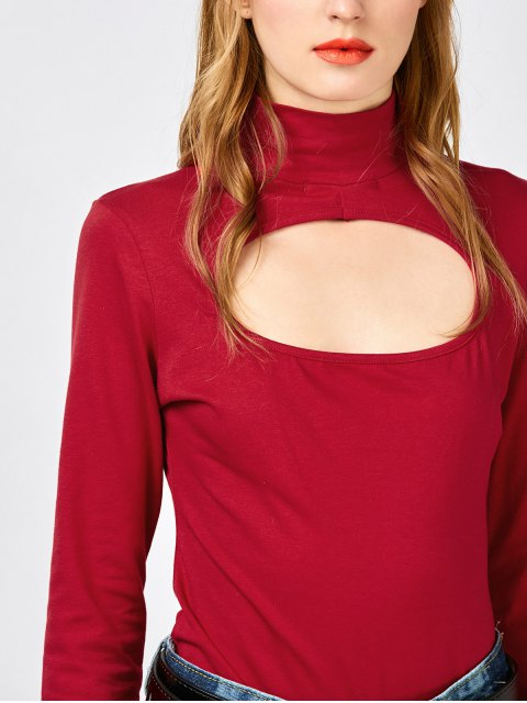 ladies Cut Out Layering Bodysuit - RED S Mobile