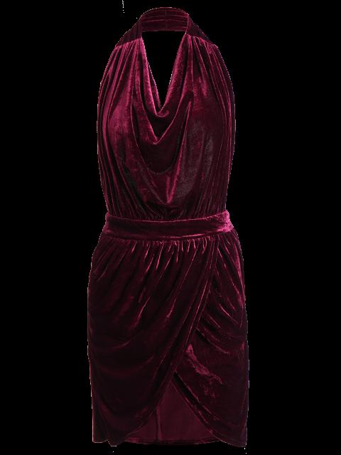 new Sexy Backless Velvet Draped Tulip Dress - BURGUNDY S Mobile