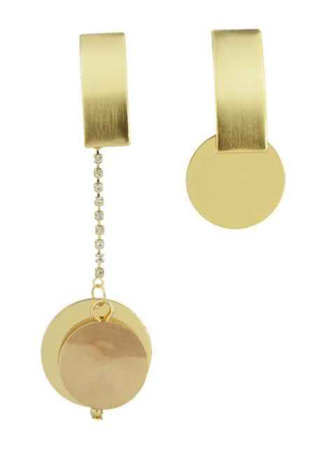 Boucles d'oreilles circulaires strass asymétriques - Or  Mobile