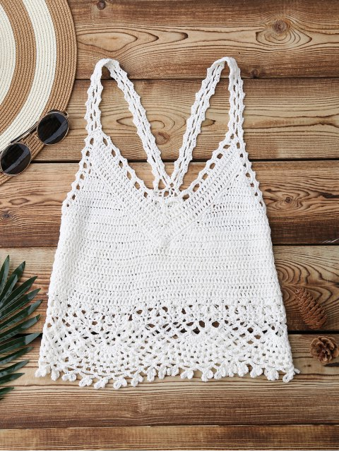 fancy Crochet Crop Cover Up Top - WHITE ONE SIZE Mobile
