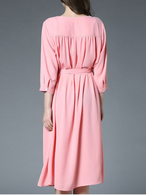 lady Slit Button Up Shirt Dress With Belt - PINK ONE SIZE Mobile