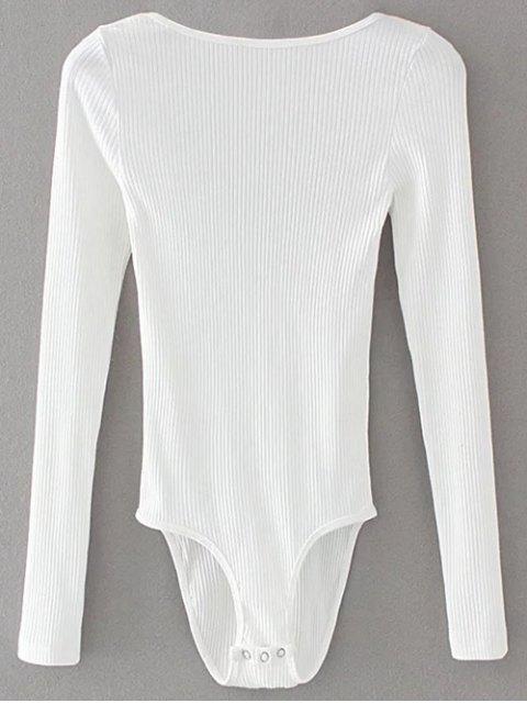 fashion Low Back Ribbed Bodysuit - WHITE L Mobile