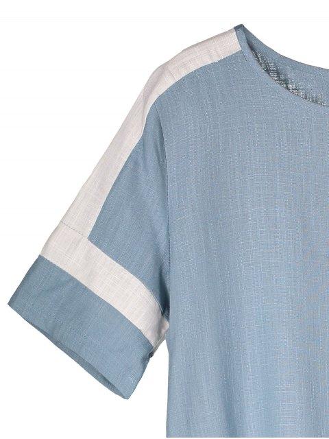 trendy Color Block Linen Casual Dress - LIGHT BLUE M Mobile