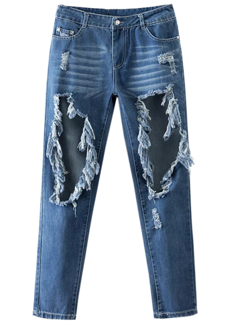 lady Cut Out Destroyed Tapered Jeans - BLUE S Mobile