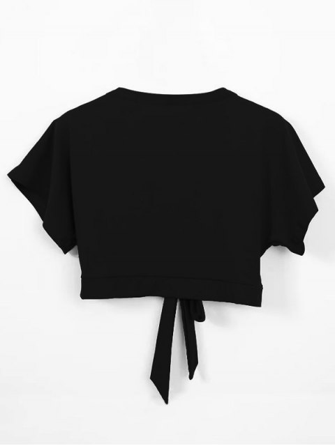 women's Knot Hem Open Front Cropped Top - BLACK ONE SIZE Mobile