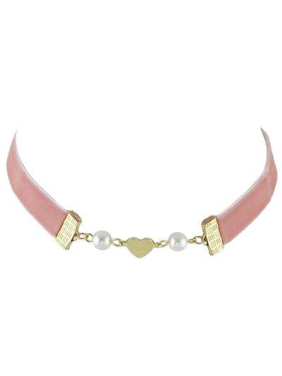 Faux Pearl Heart Velvet Choker Necklace - Pink