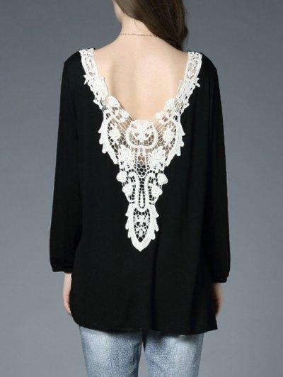 De Encaje Sin Espalda Panel De Gran Tamaño De La Camiseta - Negro