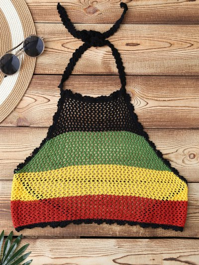 Bloque De Color Halter Top Crochet Swim