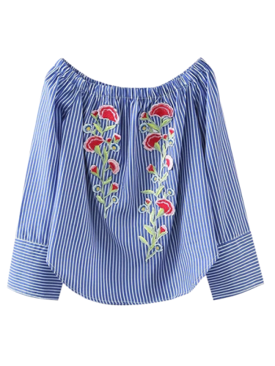 Embroidered Off Shoulder Striped Blouse - Stripe