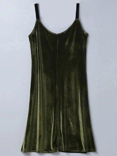Casual Velvet Midi Dress - Army Green