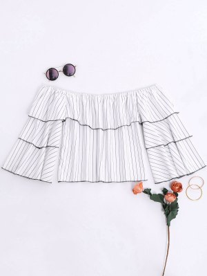 Ruffles Striped Off The Shoulder Blouse - White