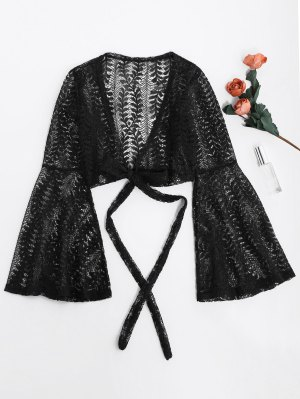 Flare Sleeve Crop Wrap Lace Top - Black