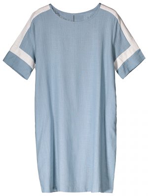 Color Block Linen Casual Dress - Light Blue
