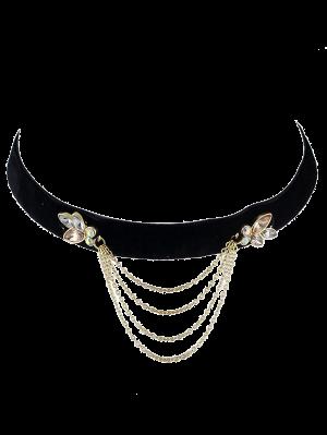 Vintage Fringed Rhinestone Choker Necklace - Black