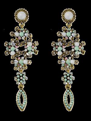 Rhinestone Bohemian Floral Earrings - Golden