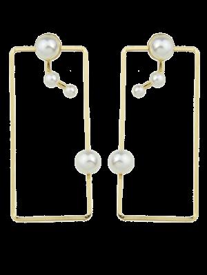 Artificial Pearl Geometric Ear Jackets - Golden