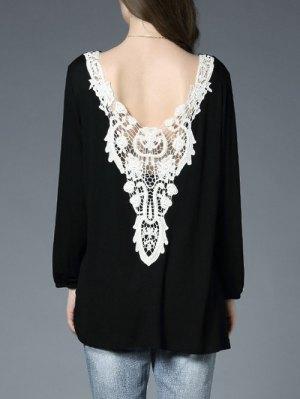 Lace Panel Backless Oversized T-Shirt - Black