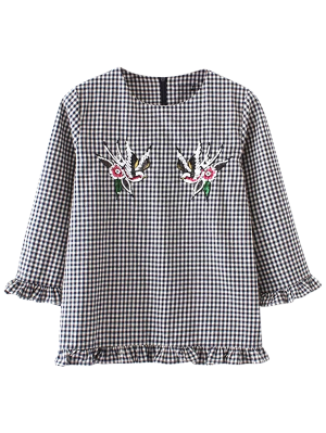 Checked Frilled Blouse - Black