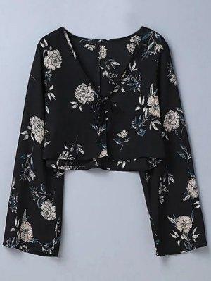 Recortada Floral De La Blusa - Negro