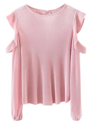 Frilled Cold Shoulder Blouse - Pink
