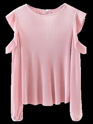Frilled Cold Shoulder Blouse - Pink