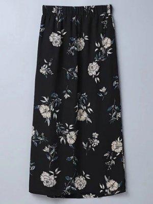 Slit Floral A-Line Skirt - Black