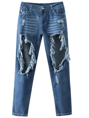 Cut Out Destroyed Tapered Jeans - Blue