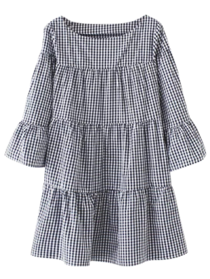 Casual Checked Straight Dress - Black